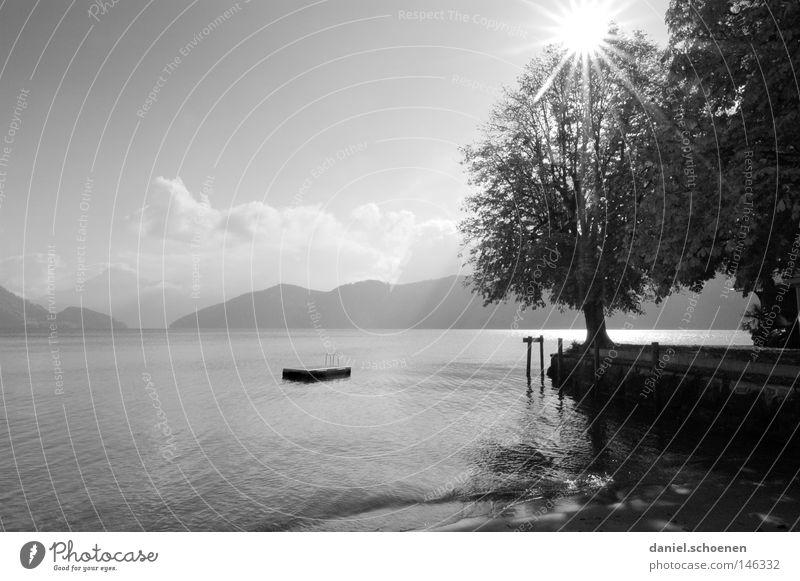 Herbstsee 2 Wasser Himmel Baum Sonne blau Ferien & Urlaub & Reisen ruhig Blatt Wolken Einsamkeit Erholung Berge u. Gebirge grau See Aussicht