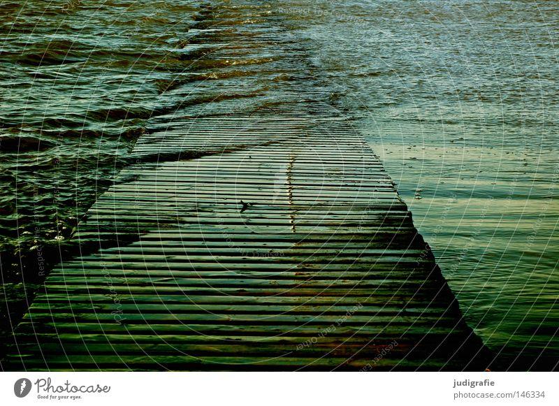Land unter Wasser Meer Strand Farbe Holz See Wellen Küste nass Naturkatastrophe Steg Nordsee Gezeiten Flut Hochwasser Strömung