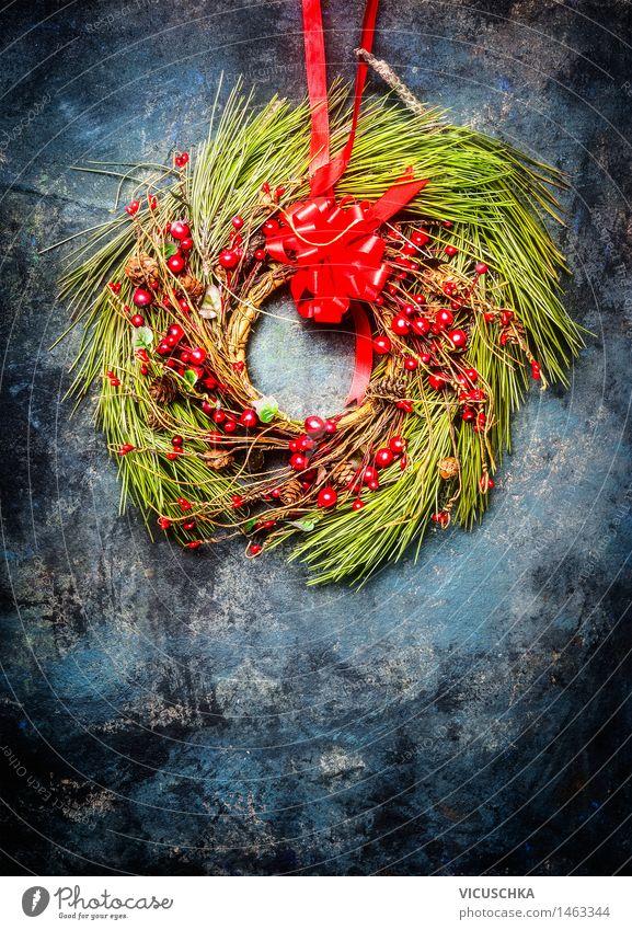 Weihnachtskranz mit roter Dekoration Weihnachten & Advent Winter Stil Hintergrundbild Feste & Feiern Wohnung Design Dekoration & Verzierung Schnur Tradition