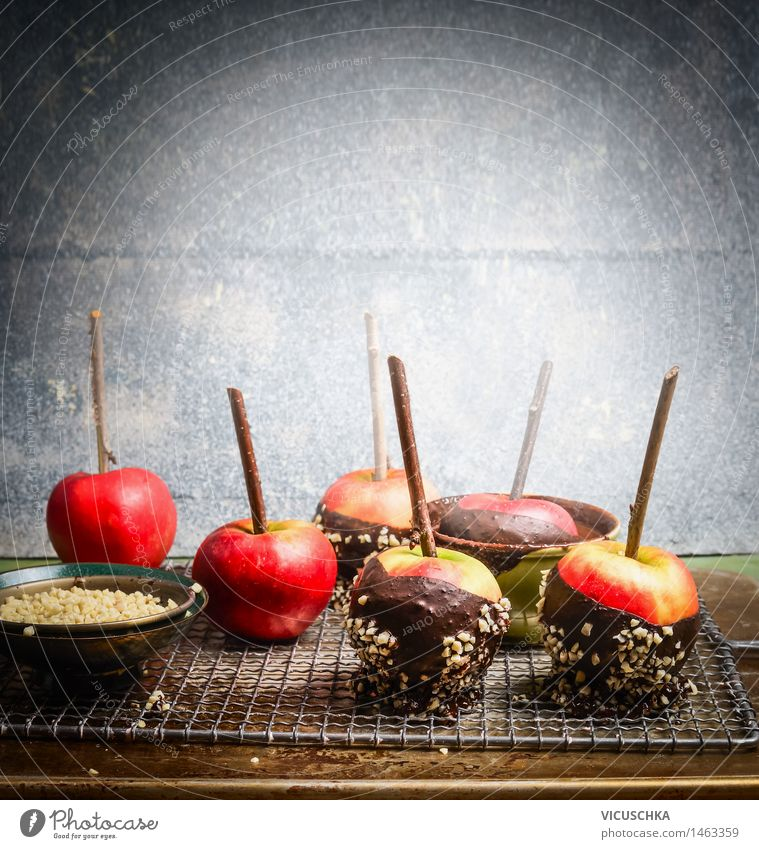 Hausgemachte Schokoäpfel Lebensmittel Apfel Dessert Süßwaren Schokolade Schalen & Schüsseln Freude Tisch Feste & Feiern Halloween Weihnachten & Advent Design