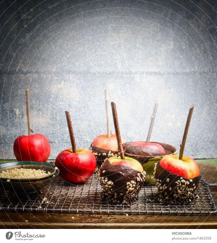 Hausgemachte Schokoäpfel Weihnachten & Advent Freude Stil Hintergrundbild Feste & Feiern Lebensmittel Design Tisch süß Süßwaren Apfel Dessert