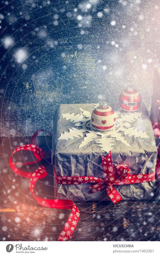 Weihnachtskarte mit handgemachte Geschenk Dekoration Weihnachten & Advent Winter Innenarchitektur Schnee Stil Feste & Feiern Party Stimmung Wohnung Design