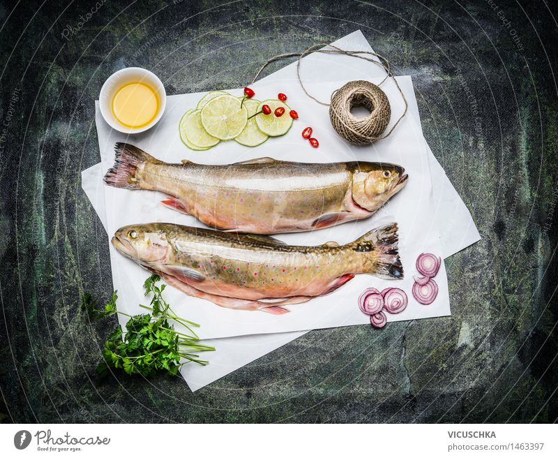 Roher Fisch auf weißem Papier mit Zutaten fürs Kochen Lebensmittel Kräuter & Gewürze Öl Ernährung Mittagessen Abendessen Festessen Bioprodukte