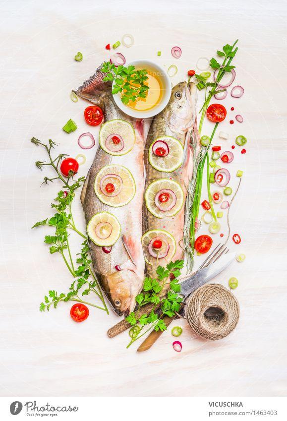 Fisch und leckere Zutaten für gesundes Essen Natur Gesunde Ernährung Leben Stil Lebensmittel Design Tisch Kochen & Garen & Backen Kräuter & Gewürze Küche Gemüse