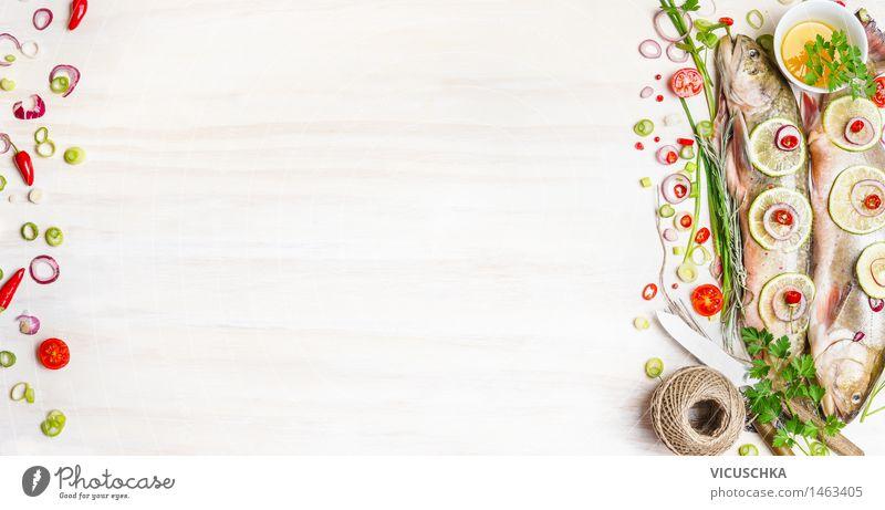 Frischer Saibling mit Kräutern für schmackhafte Küche Gesunde Ernährung Leben Stil Hintergrundbild Lebensmittel Design Tisch Kräuter & Gewürze Fisch Gemüse