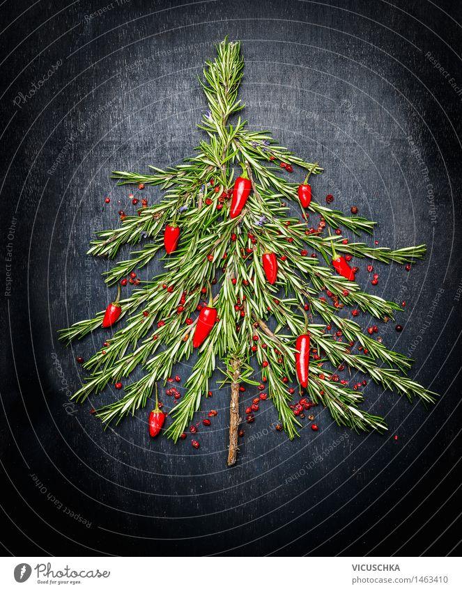 Weihnachtsbaum aus Rosmarin und rotem Chili Lebensmittel Kräuter & Gewürze Ernährung Festessen Stil Design Gesunde Ernährung Dekoration & Verzierung Restaurant
