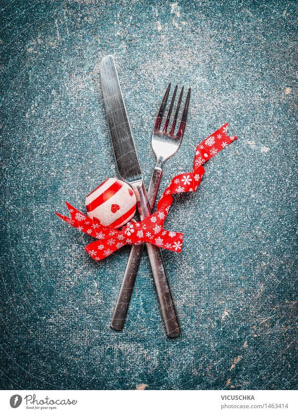 Weihnachtliches Tisch Gedeck Festessen Besteck Messer Gabel Stil Design Wohnung Dekoration & Verzierung Veranstaltung Restaurant Feste & Feiern