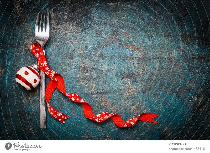 Hintergrund für Weihnachten Abendessen mit Gabel und Dekoration Weihnachten & Advent Speise Stil Hintergrundbild Feste & Feiern Party Design