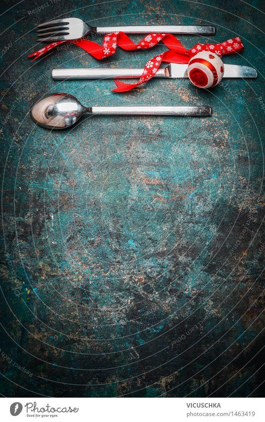 Weihnachten, Hintergrund mit Tischbesteck Weihnachten & Advent Freude dunkel Innenarchitektur Stil Feste & Feiern Party Design Wohnung Häusliches Leben Ernährung Dekoration & Verzierung Tisch Veranstaltung Restaurant Tradition