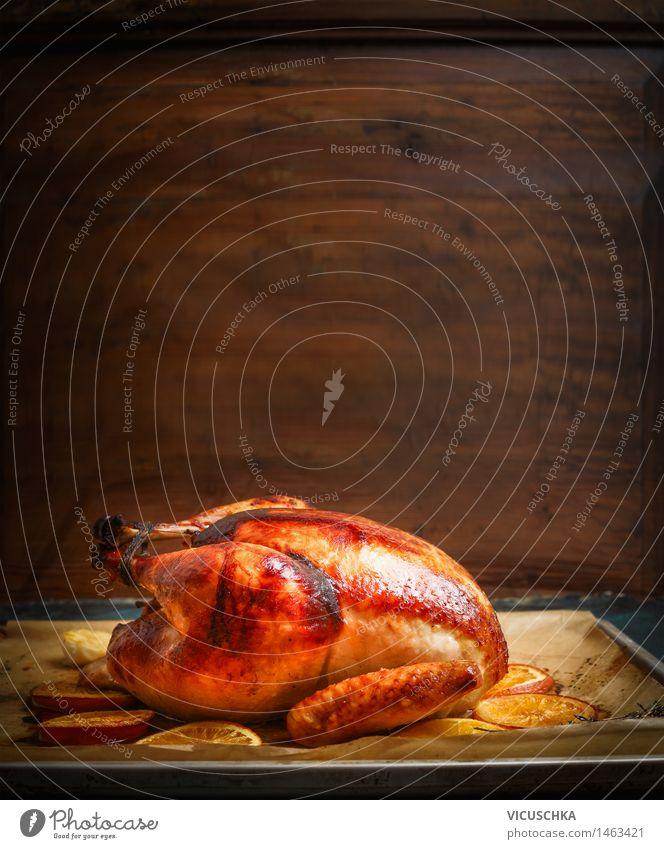 Putenbraten aus Backofen Weihnachten & Advent Stil Hintergrundbild Holz Feste & Feiern Lebensmittel Design Ernährung Tisch Küche Tradition Fleisch Abendessen
