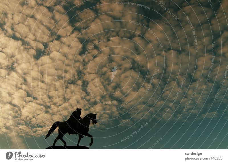Mein Ruhm ist in Rauch aufgegangen Mensch Himmel Mann blau Wolken schwarz Berlin Park Horizont Freizeit & Hobby Beton Pferd Reinigen historisch Denkmal Statue