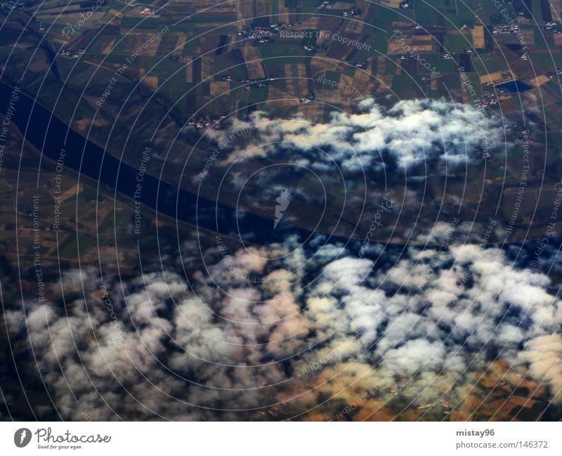 above the clouds Himmel Wolken oben Luft Luftverkehr Fluss Amerika Bach Österreich Donau