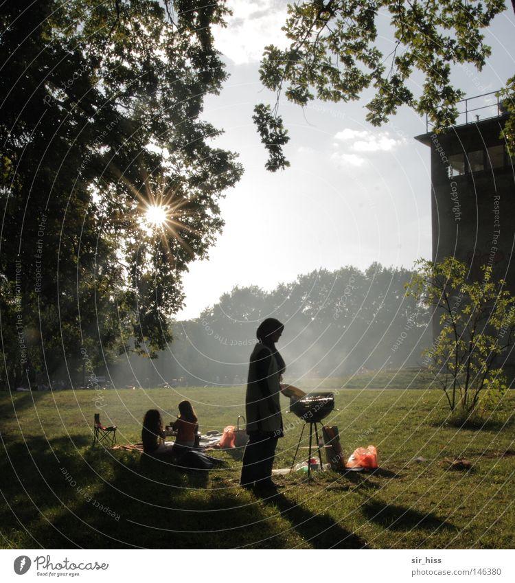 Rollenverteilung 2008 [la chamandu] Park Grillen Mauer Türkei Kind Frau Ernährung Sonne Sonnenstrahlen Nebel Rauch Fleisch Spielen Garten