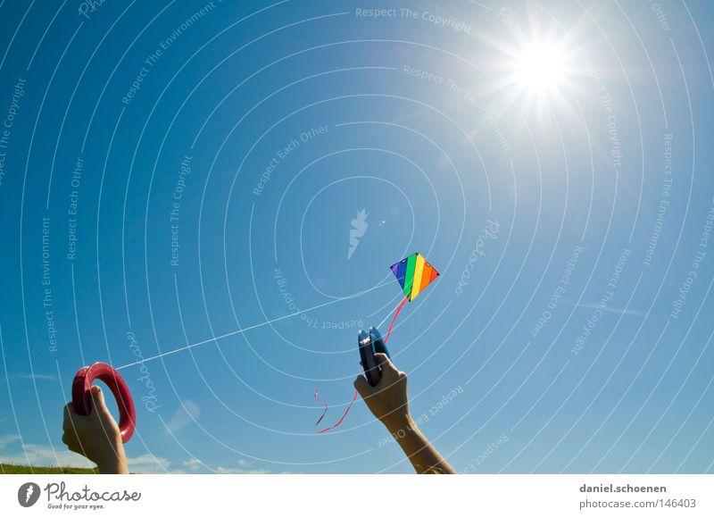 Herbst 8 Wind Lenkdrachen Kiting Farbe mehrfarbig Sommer Sonne fliegen Sonnenstrahlen Wetter Licht Himmel blau gelb grün orange rot violett schön