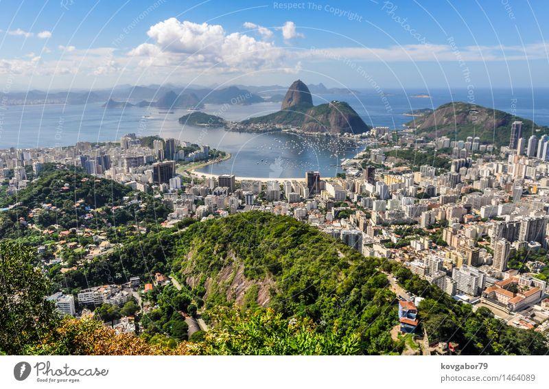 Panoramablick von Rio de Janeiro von oben, Brasilien schön Ferien & Urlaub & Reisen Strand Meer Landschaft Stadt Skyline Fluggerät Aussicht amerika Christus