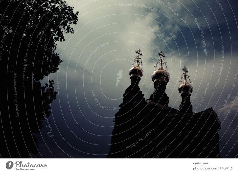 Russische Kapelle Himmel Baum Wolken dunkel Architektur Religion & Glaube Park Kunst Kirche Dekoration & Verzierung Kultur Denkmal Unwetter Aussicht Wahrzeichen