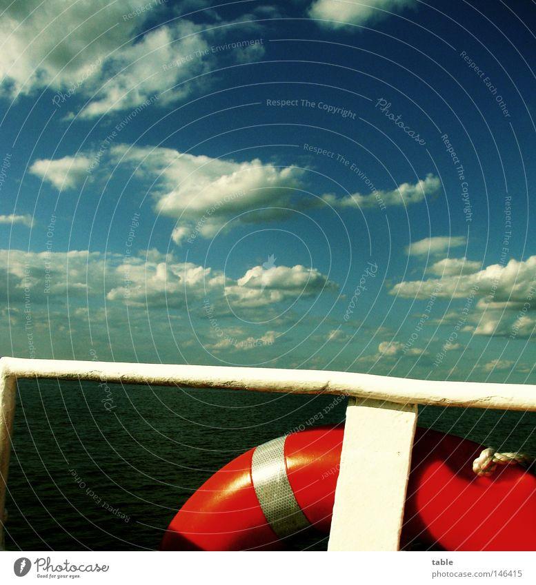 Reise Reise Ferien & Urlaub & Reisen Meer Wasser Himmel Wolken Hafen Schifffahrt Dampfschiff Wasserfahrzeug Unendlichkeit verrückt blau grün rot weiß Gefühle