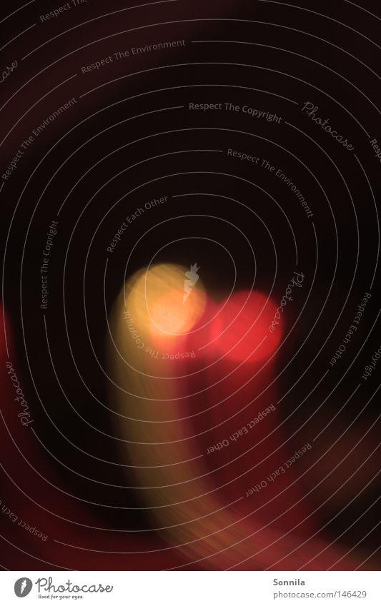 gelb-rotes Licht Farbe Lampe dunkel Wärme hell orange Physik Punkt Erkenntnis strahlend Lichtschweif