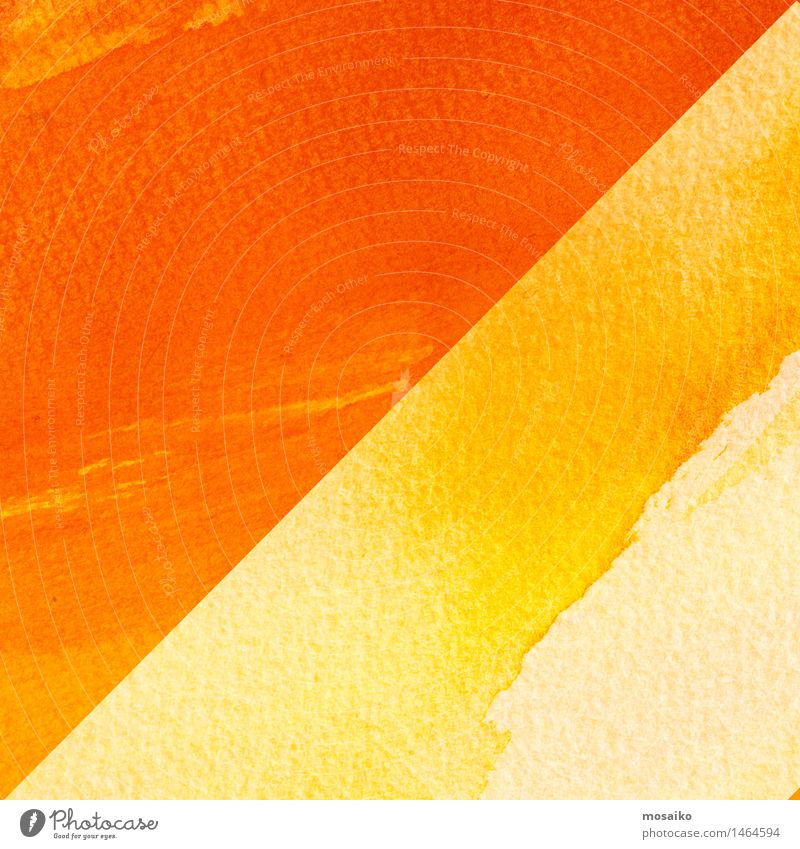 Gelbe und orange Aquarelle auf strukturiertem Papierhintergrund Lifestyle Design Bildung Gemälde Kommunizieren streichen gelb gold rot Zufriedenheit Kreativität