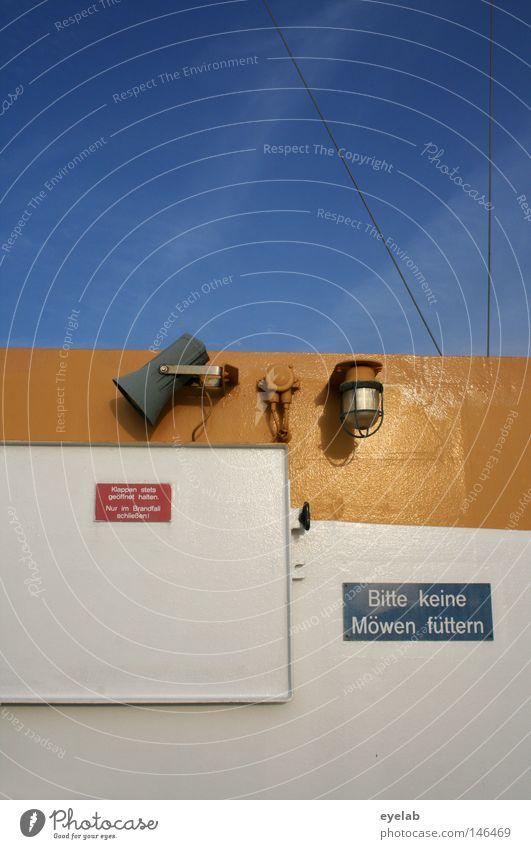Bitte keine Möwen füttern Himmel weiß Meer blau Wolken gelb Lampe See Wasserfahrzeug Metall Schilder & Markierungen Seil Industrie Sicherheit Elektrizität