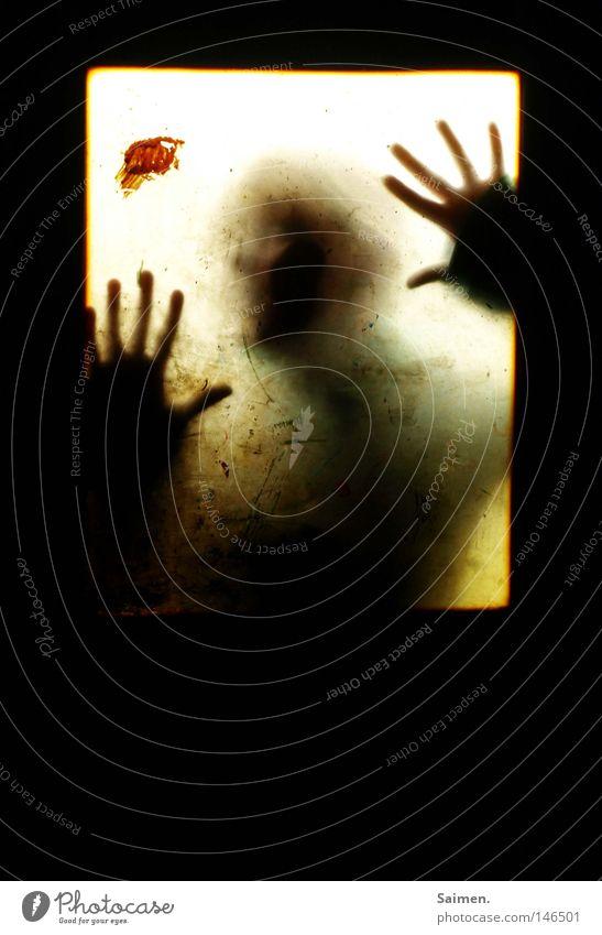 hol mich hier raus! Fenster Hand Silhouette Gegenteil Kontrast Fleck Tür Schatten Finger hell dunkel dreckig Angst Schrecken gruselig Schock gefährlich Panik