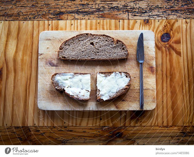 Butterbrot Brot Belegtes Brot Ernährung Abendessen Bioprodukte Besteck Messer Schneidebrett Vesper Stil Holztisch Duft ästhetisch authentisch Freundlichkeit