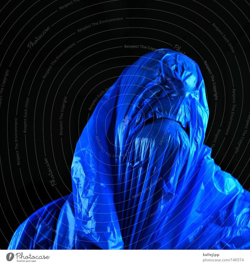 blaupause Mensch Mann blau schwarz Tod Kopf Kunst Nase gefährlich bedrohlich Zähne Hautfalten Kunststoff Maske Falte gruselig