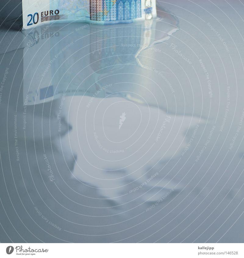 inflation Geld Finanzkrise finanziell Geldgeber Wirtschaftskrise Geldinstitut Verteuerung Euro Eurozeichen Flüssigkeit Wasser Pfütze Einkommen Versicherung
