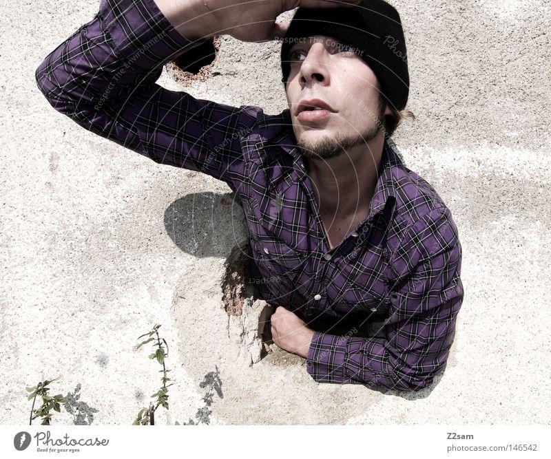 kuckuck Mensch Mann Freude Gesicht Wand Kopf Perspektive Aussicht nah Bart Hemd Mütze Loch anlehnen