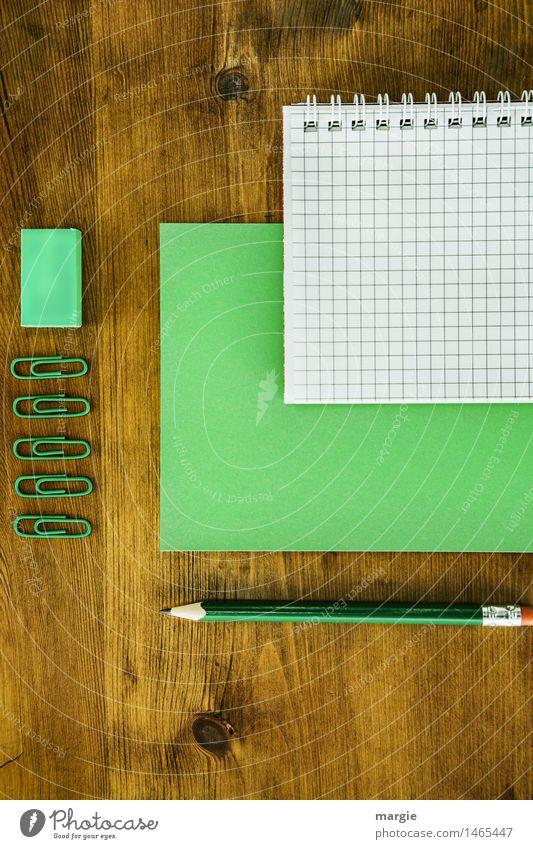 Schreibtisch grün Holz braun Business Arbeit & Erwerbstätigkeit Büro Ordnung lernen Papier schreiben Beruf Geldinstitut Handel Schreibstift Arbeitsplatz