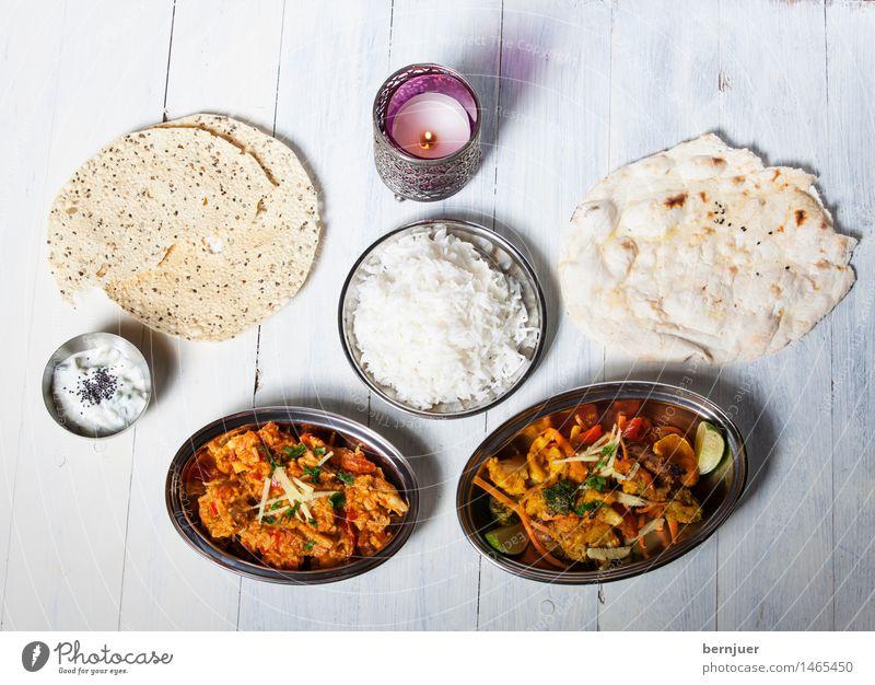 Curry, curry was all she wrote Lebensmittel authentisch Ernährung Kerze lecker gut Bioprodukte Geschirr Teller Schalen & Schüsseln Fleisch Abendessen Indien Reis Ehrlichkeit Billig