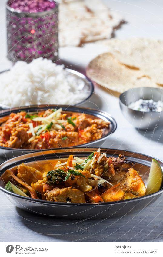 No hurry, chicken curry Essen Lebensmittel Kerze lecker gut Backwaren Schalen & Schüsseln Fleisch Abendessen Indien Teigwaren Reis rustikal Billig Hähnchen