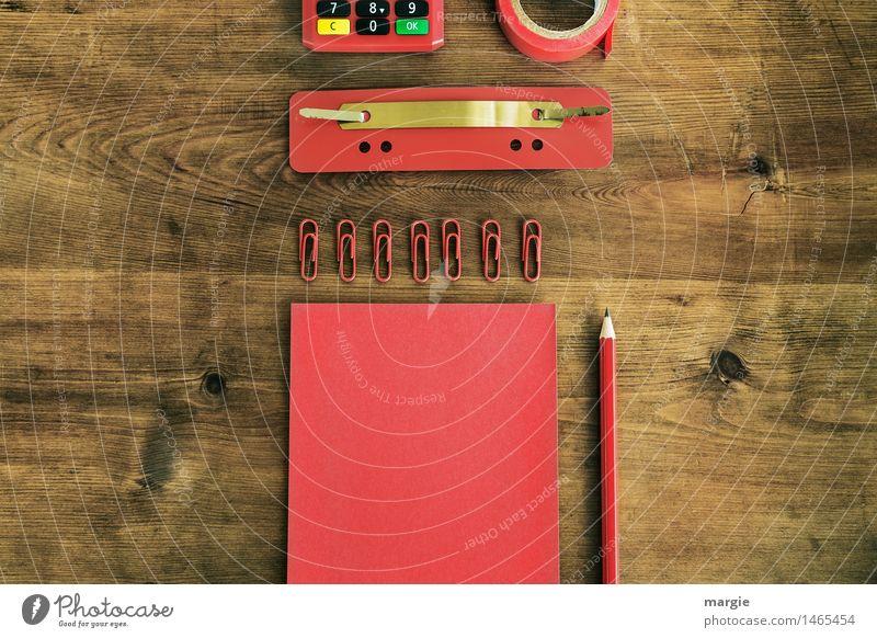 Schreibtisch rot II rot Holz Schule braun Business Arbeit & Erwerbstätigkeit Büro Ordnung Erfolg lernen Computer Papier Ziffern & Zahlen Bildung schreiben Beruf