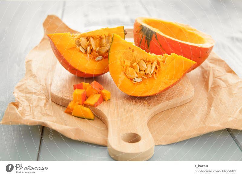 Kürbis blau Gesunde Ernährung gelb Herbst natürlich Gesundheit Lebensmittel orange frisch Kochen & Garen & Backen Gemüse Bioprodukte Abendessen