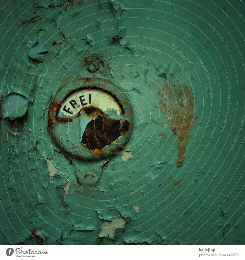 -heit alt Farbe Freiheit klein Tür geschlossen dreckig Schilder & Markierungen groß frei Kreis Sauberkeit Bad Symbole & Metaphern Zeichen verfallen
