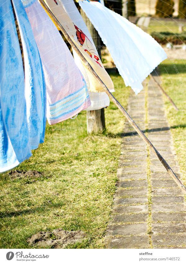 Waschtag Wäsche Waschmaschine aufhängen trocknen Handtuch Bettwäsche Wäsche waschen Wind wehen Wäscheleine Sauberkeit rein Waschmittel Garten Haushalt