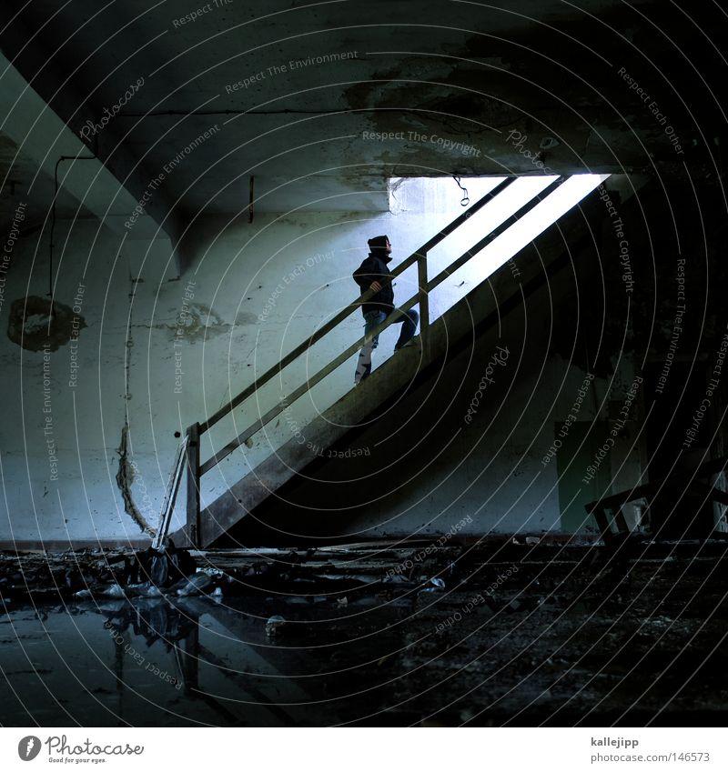 alles wird gut Mann Mensch hängen Schweben Orientierung Schwerelosigkeit Raum Treppe Luke oben aufwärts Erfolg Wirtschaft Örtlichkeit Gemäuer gehen Quadrat