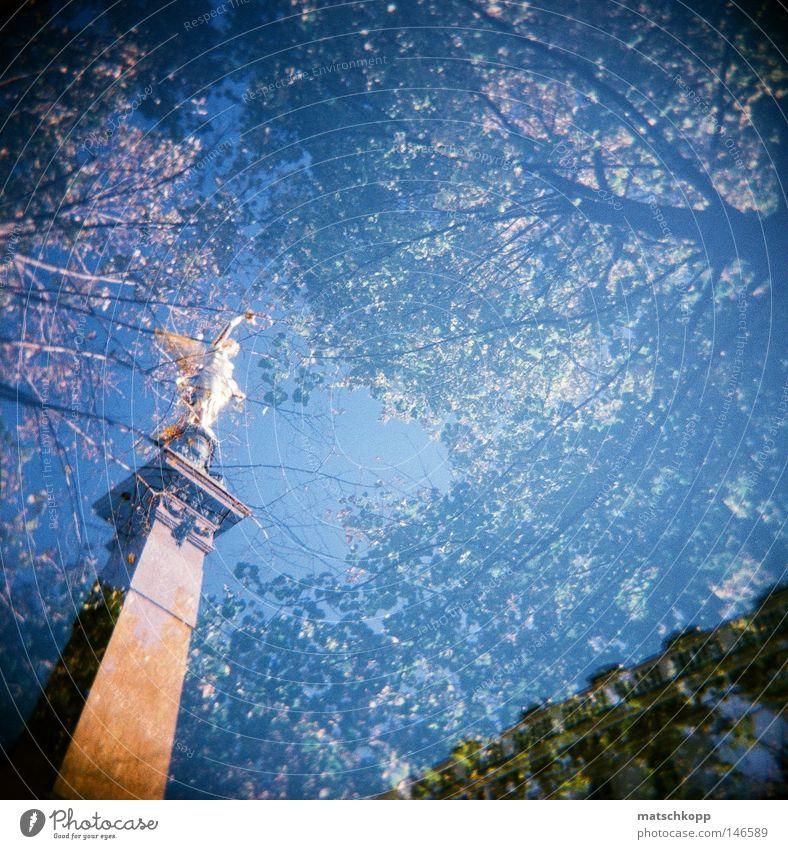 Hoch oben in den Bäumen.. Holga Lomografie Vignettierung dunkel hell Natur Baum Schatten Licht analog Statue Geometrie Sockel heilig Ikonen Wien Kreis Rathaus
