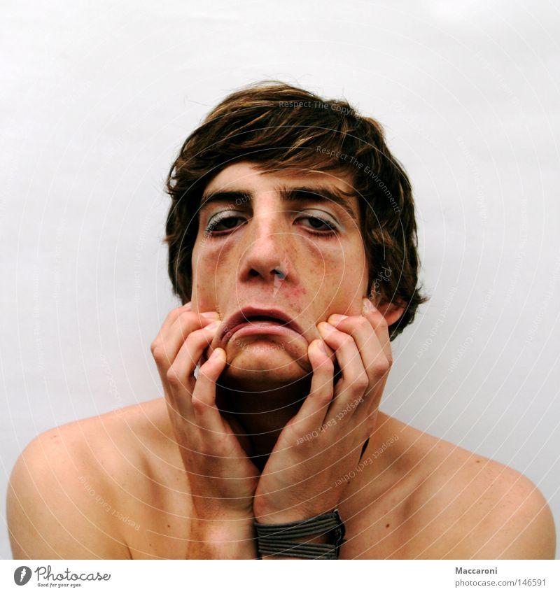 Face-off! Jugendliche weiß nackt 18-30 Jahre Erwachsene Traurigkeit Gefühle feminin Haare & Frisuren Kopf maskulin Haut Mund Beginn berühren Mut