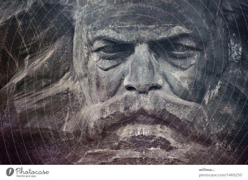 Karl Marx  als Monument Wahrzeichen Denkmal Chemnitz grau Politik & Staat Porträtbüste Marxismus-Leninismus monumental Philosoph Skulptur Kommunismus Bart