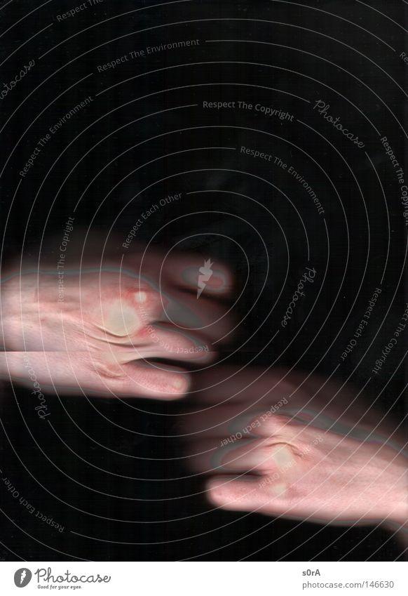 scanning VI Hand in Hand mystisch Bewegung ästhetisch Anmut Finger Daumen Biegung biegen 10 Gelenk gelenkig Sehne Silhouette schwarz Mensch Scanner Faust
