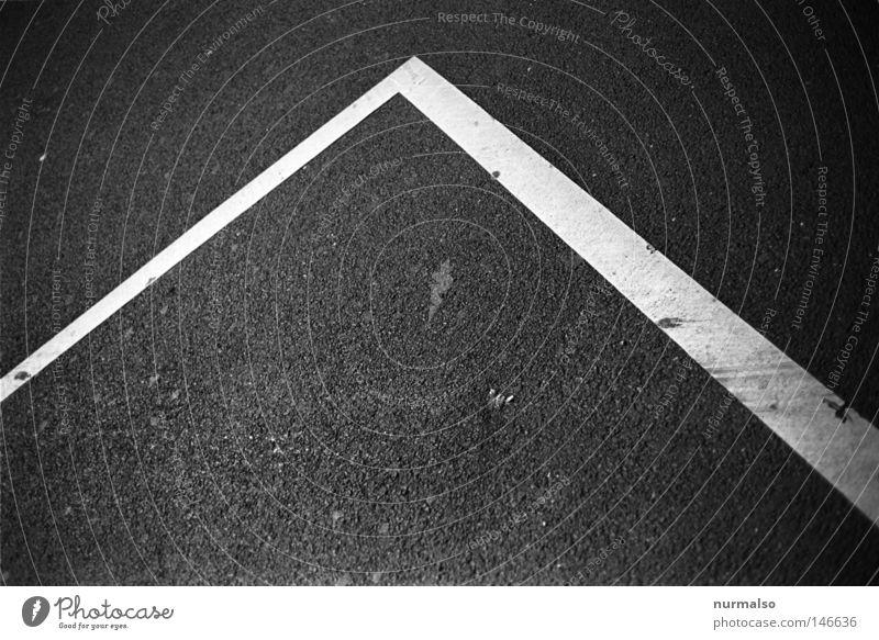 Kurs Schilder & Markierungen Asphalt Parkplatz schwarz Schwarzweißfoto Fluchtlinie Fluchtpunkt graphisch Spitze Bodenmarkierung Textfreiraum Begrenzung
