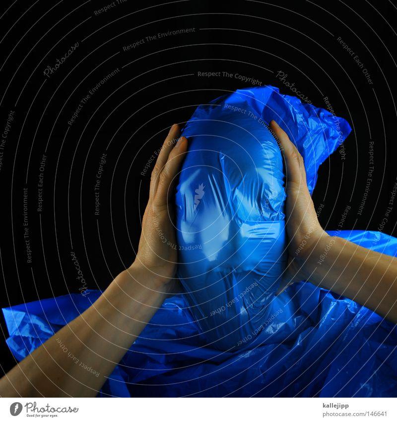 blaumeise Mensch Mann blau schwarz Tod Kopf Kunst Angst Nase gefährlich bedrohlich Kunststoff Maske Falte gruselig Theaterschauspiel