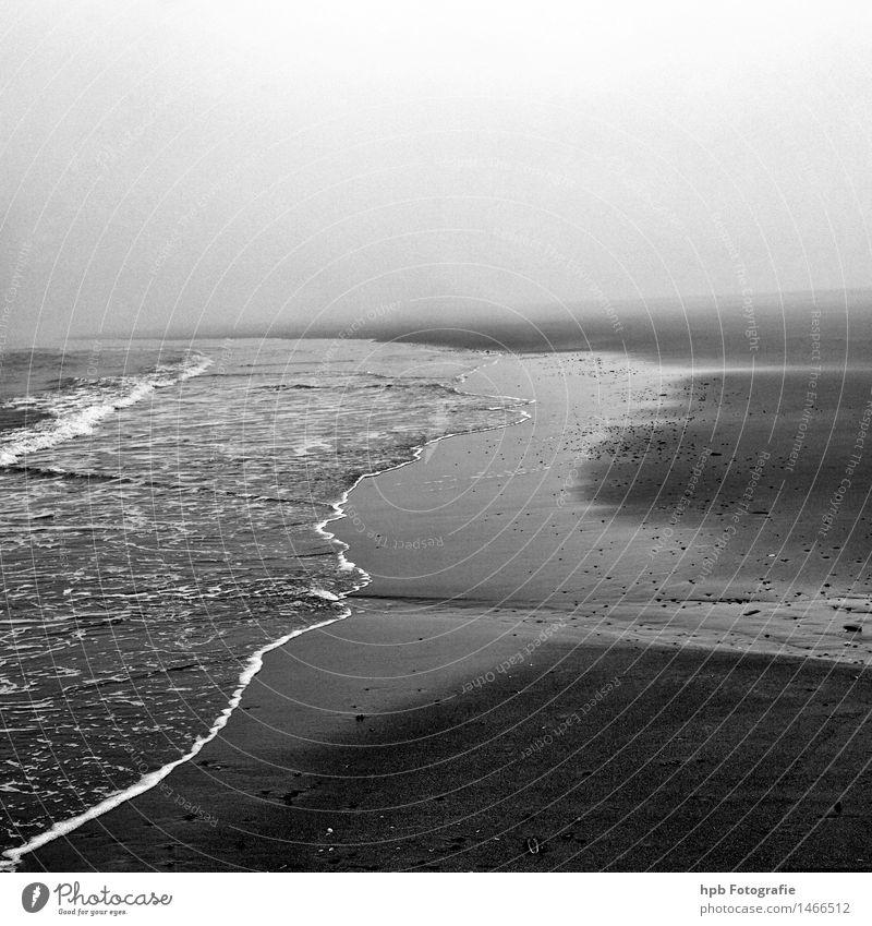 Spiekeroog Strand Natur Ferien & Urlaub & Reisen Wasser Meer Landschaft Einsamkeit Ferne Herbst Freiheit Stimmung Wetter Nebel Wellen wandern Perspektive