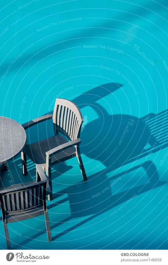 SonnenDeck blau Sommer Ferien & Urlaub & Reisen Erholung Gastronomie Möbel Kunststoff türkis Schiffsdeck Schlagschatten Sonnendeck Gartenmöbel Plastikkorb