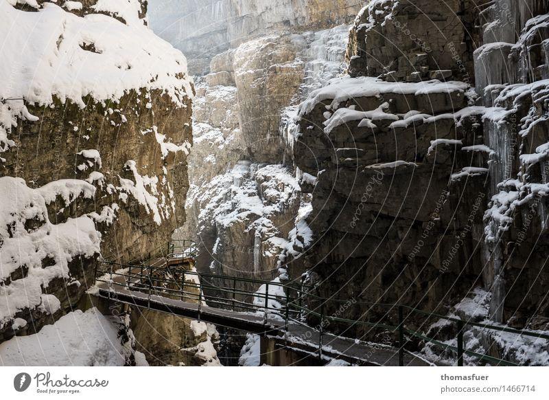 Der Weg Ferien & Urlaub & Reisen Tourismus Ausflug Abenteuer wandern Klettern Natur Landschaft Himmel Winter Schönes Wetter Eis Frost Schnee Felsen Alpen