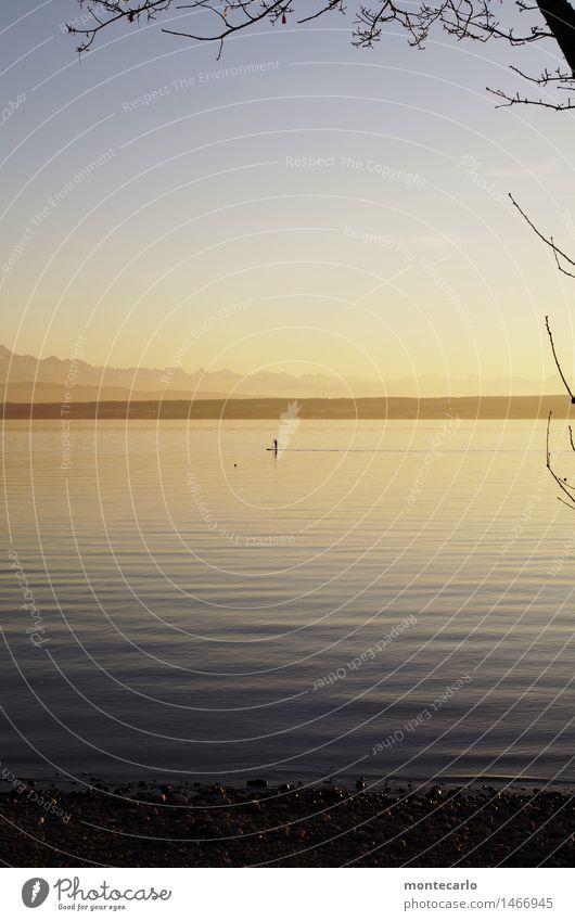 aus der zeit gefallen | fortbewegung Mensch maskulin 1 Umwelt Natur Landschaft Urelemente Luft Wasser Himmel Wolkenloser Himmel Horizont Herbst Klima
