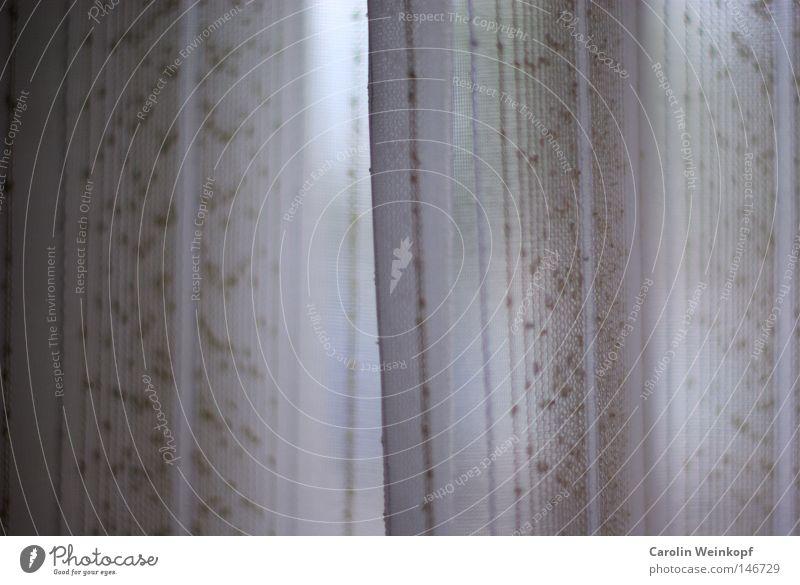 Schutzatmosphäre. Vorhang Fenster Licht Muster Gardine Streifen hängen Durchblick Angst Panik Schatten Punkt Lichterscheinung