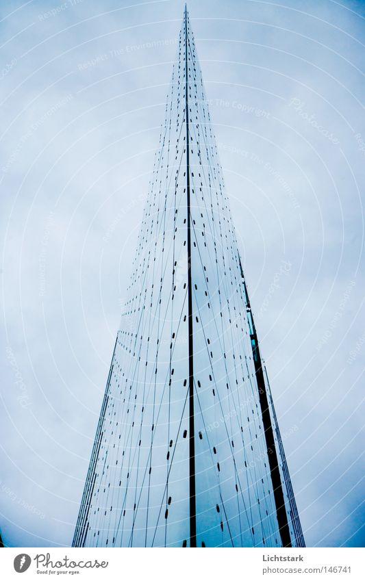 Schwert Himmel blau Wolken kalt Berlin Architektur Business Deutschland Glas Fassade Beton hoch Design modern Turm