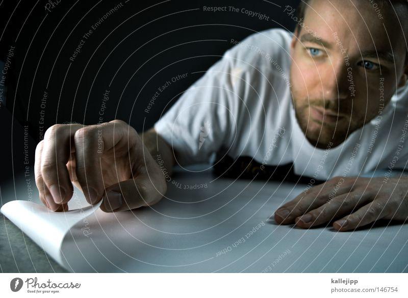 abziehbildchen Mann Mensch Gesicht Neugier Bart Blick entdecken forschen Blatt Seite Buchseite Finger Hand Zeigefinger Plakat plakatieren Etikett aufklären